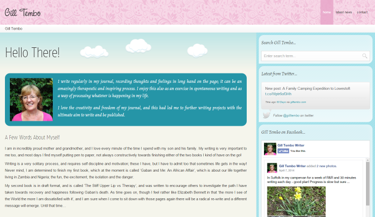 Screenshot of Gill Tembo's website.