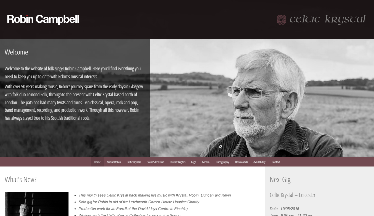 Screenshot of Robin Campbell's website.