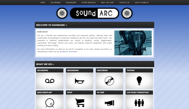Screenshot of SoundARC's website.