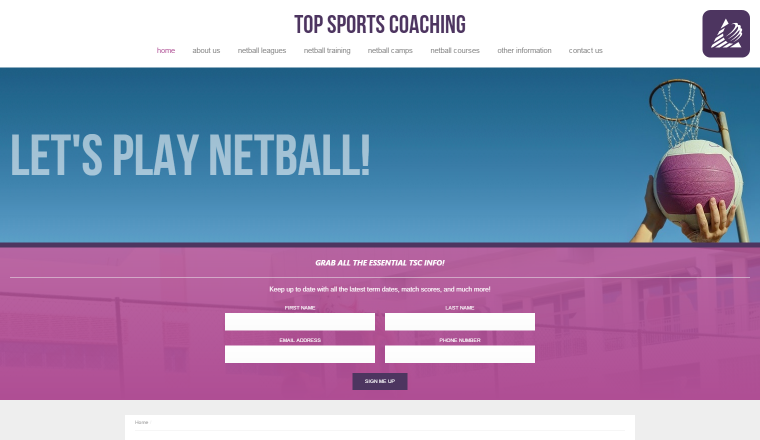 Screenshot of Top Sports Coaching's website.