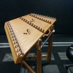 Image of a dulcimer in the live room at SoundARC Recording Studios.