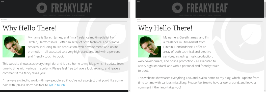 Before and after screenshots of Freakyleaf's home page demonstrating CSS Shapes.
