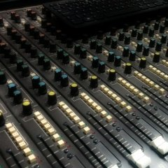 Image of some Soundcraft Series 1600 channel strips.