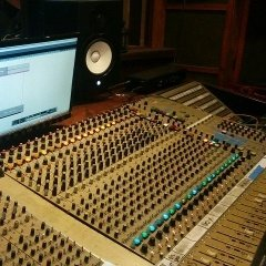 Image of the mixing desk at The Lodge recording studios in Northampton.